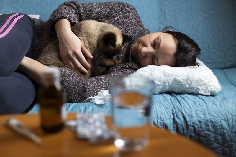 Почему моя кошка спит на мне, когда я болею